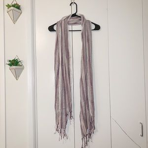 Urban Outfitters White Pink Purple Scarf Fringe